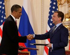 Presidents Obama and Medvedev after signing the nuclear arms reduction treaty in 2010.