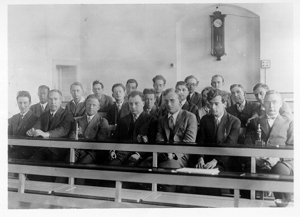 Niels Bohr and colleagues during the Copenhagen Conference in 1929