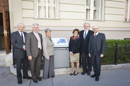 From left: Peter M. Schuster, Eberhard Widmann, Margit Fischer, Luisa Cifarelli, Anton Zeilinger, Caslav Brukner
