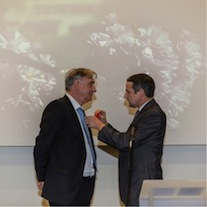 Sydney Galès receiving the 'légion d'honneur' from Thierry Mandon, the French secretary of state for Higher Education and Research