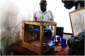 3D printer in action under the supervision of Nana Bonaventure
