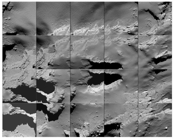 Sequence of images captured by Rosetta during its descent to the surface of Comet 67P/C-G on 30 September 2016