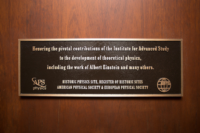 The plaque in the building of the Institute for Advanced Study