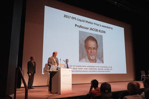 Prize ceremony for the EPS Liquid Matter Prize 2017 - FLTR: I. Musevic, C.J. van der Beek and prize winner Jacob Klein