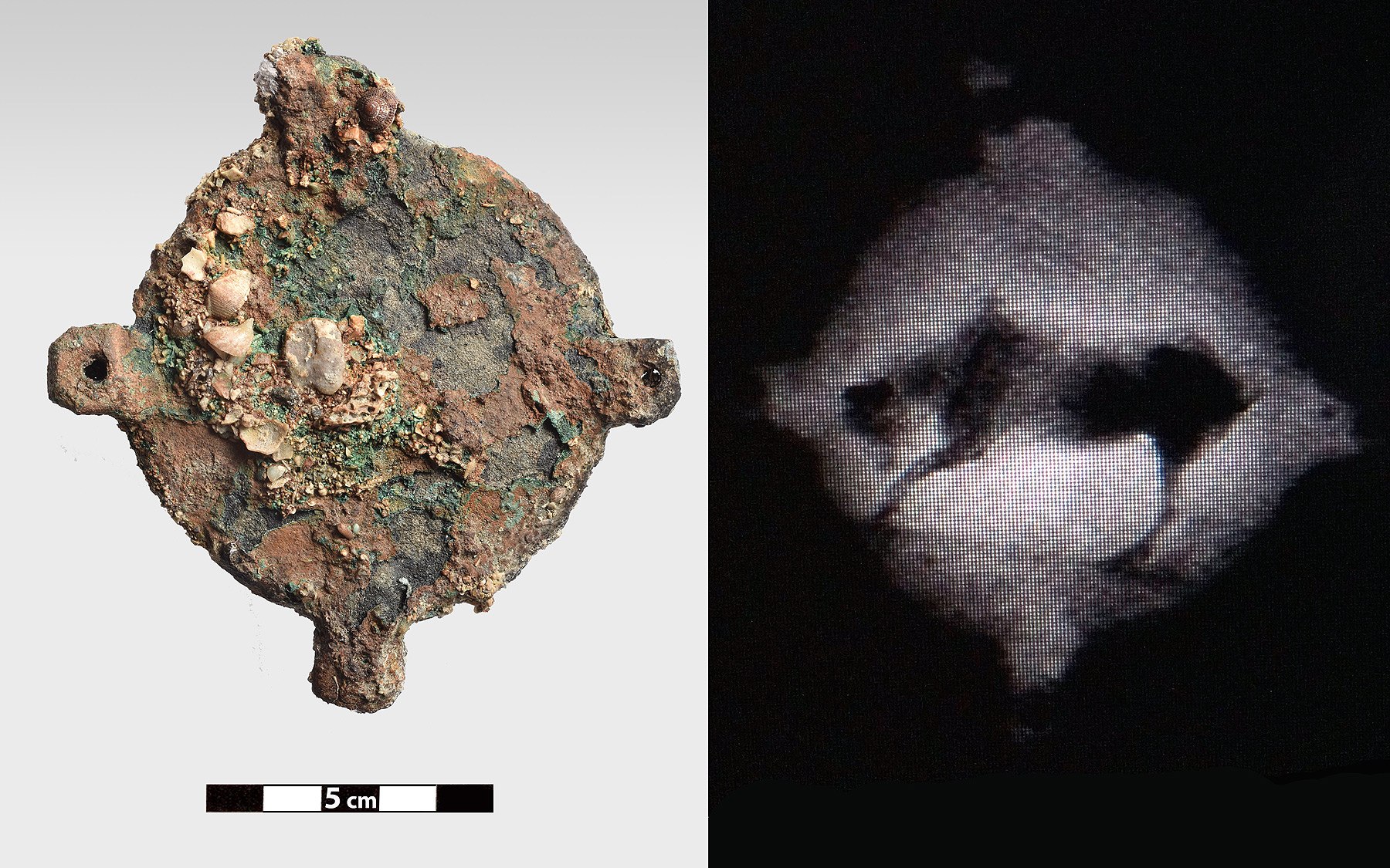 Bronze disk with decoration and its radiography